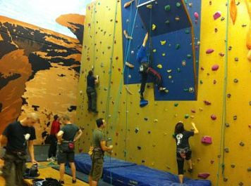 Members enjoying Nevsails weekly indoor rock climbing open session Limerick